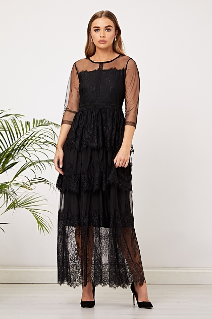 Black Lace Maxi Layered Dress