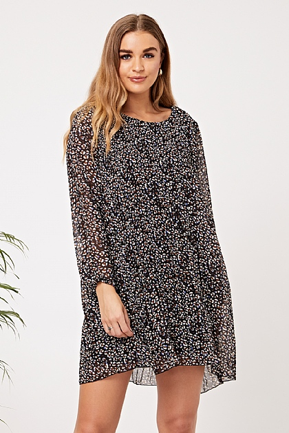 Black Leopard Print Pleated Tunic Dress