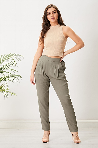Sage Green Tapered High Waisted Trousers