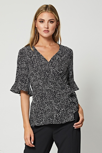 Black Polka Dot Short Sleeve Wrap Top