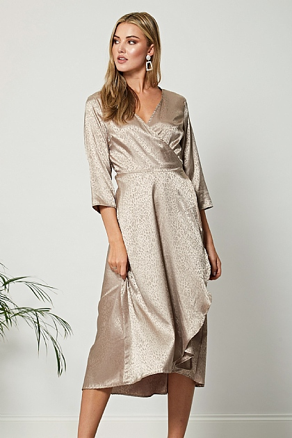 Beige Leopard Satin Midi Wrap Dress
