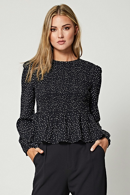 Black Polka Dot Shirred Peplum Blouse