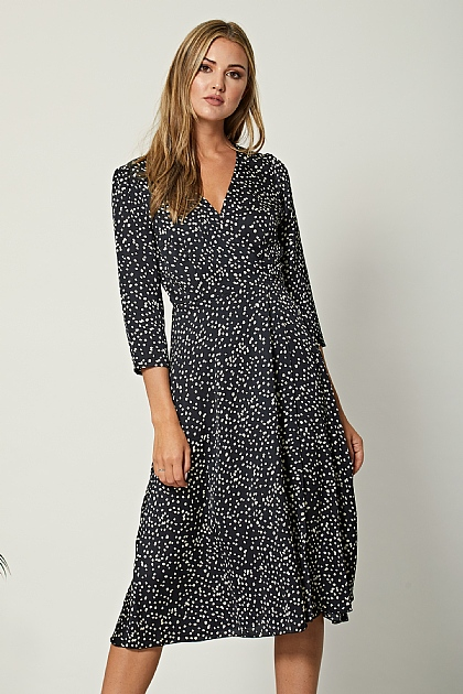 Black Satin Polka Dot Wrap Midi Dress