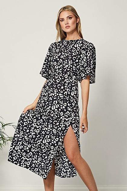 Black Mixed Animal Print Short Sleeve Midi Dress