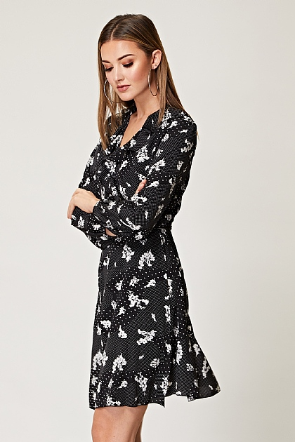 Black Floral Long Sleeve Mini Wrap Dress