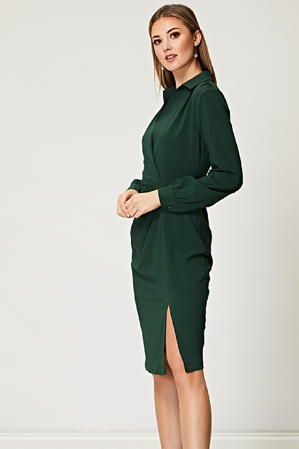 Pine Drapped Tailored Dress