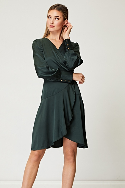 Satin Wrap Dress with Deep Dropped Hem
