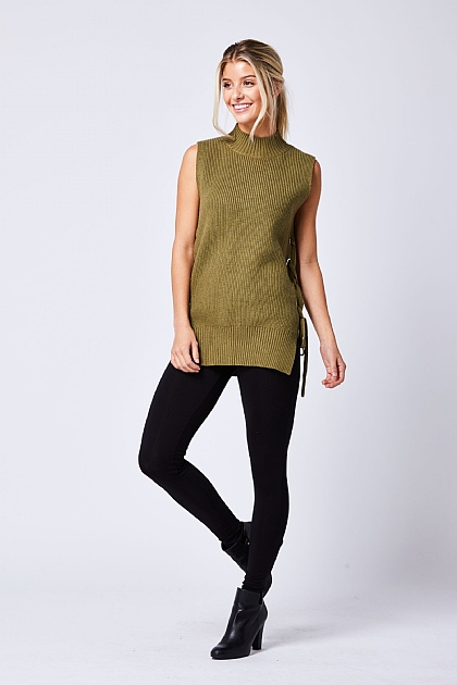 Khaki Tie Side Sleeveless High Neck Top