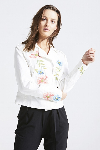 White Denim Embroidered Biker Jacket