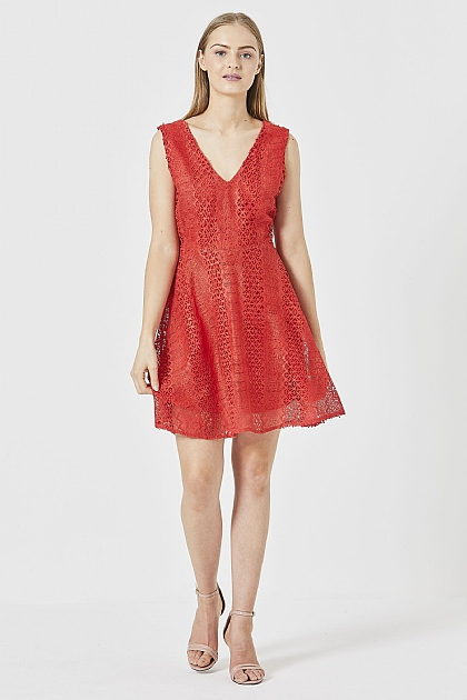 Red Lace A-line Mini Dress