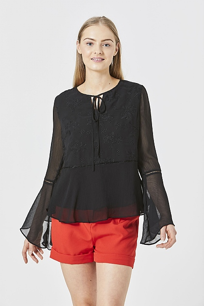 Black Long Sleeved Float Layered Blouse