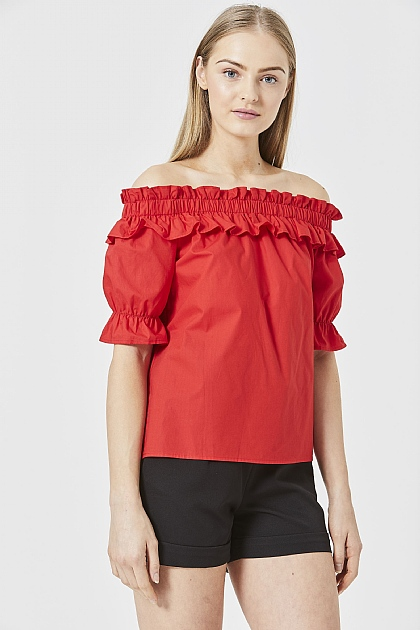 Red Bardot Ruffled Blouse