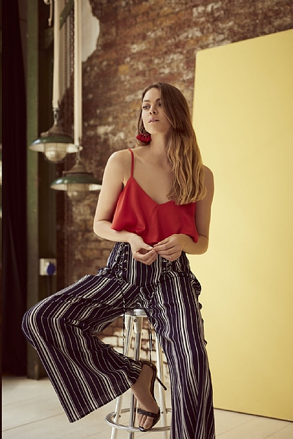 Striped Wide Leg Trousers in Navy