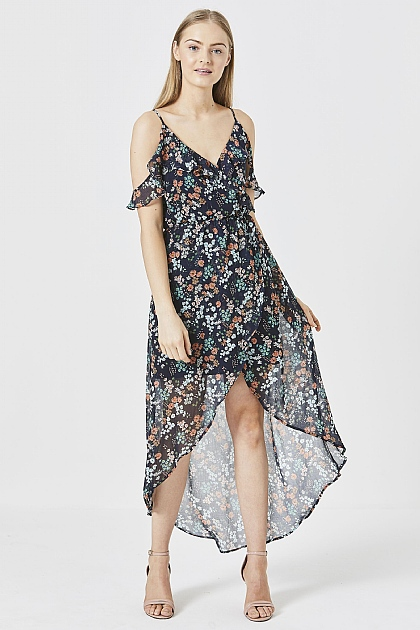 Navy Floral Ruffled High-Low Dress
