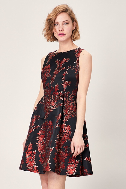 Black Red Jacquard Print Skater Mini Dress