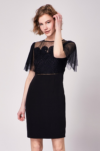 Black Lace Sheer Bodycon Midi Dress