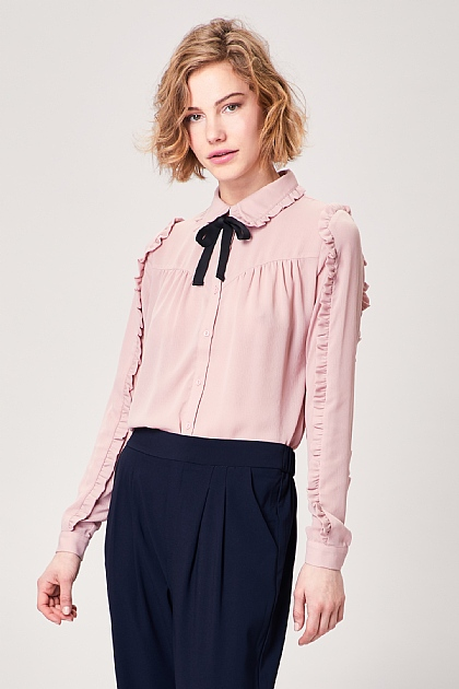 Blush Pink Pussy Bow Long Sleeved Blouse