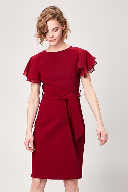 Burgundy Fitted Short Sleeve Belted Midi Dress