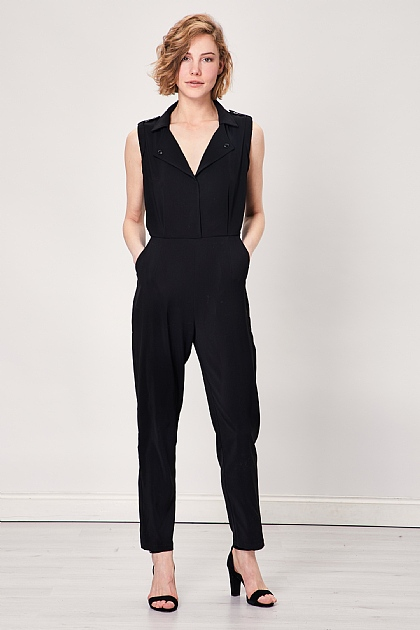 Black Sleeveless Wrap Front Jumpsuit