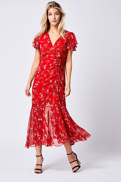 Red Floral Floaty Wrap Front Midii Dress