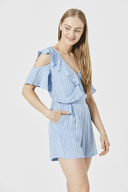 Blue Striped Ruffed Playsuit