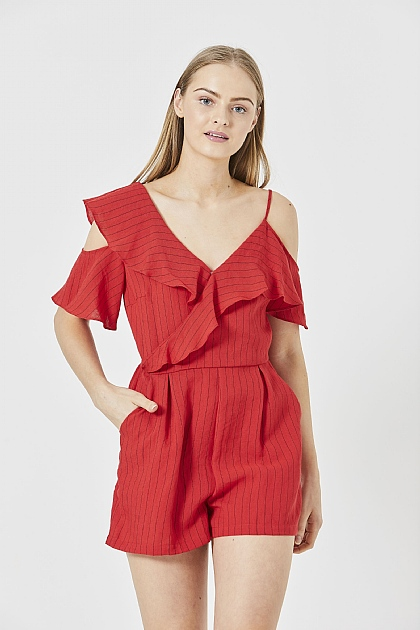056f4a95072 ... Red Striped Ruffed Mini Playsuit