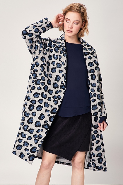 Grey and Blue Leopard Print Cocoon Wool Coat