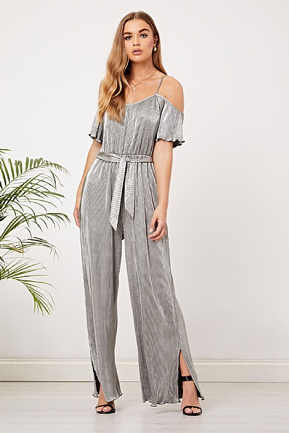 Grey Silver Pleated Off shoulder Jumpsuit