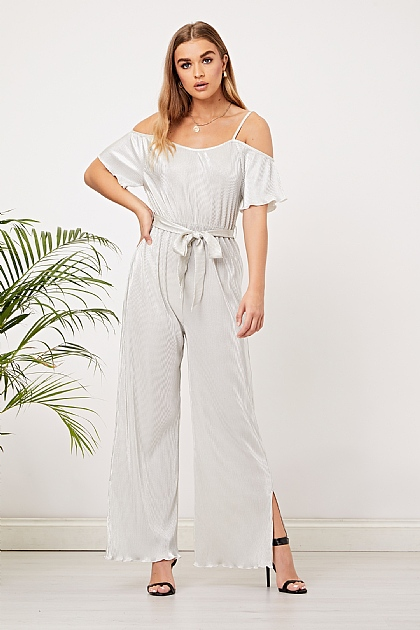 Pearl Silver Pleated Off shoulder Jumpsuit