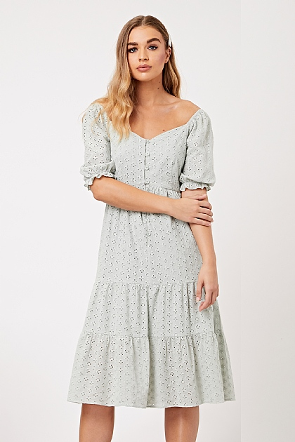 Mint Green Broderie Anglais Puff Sleeve Midi Dress
