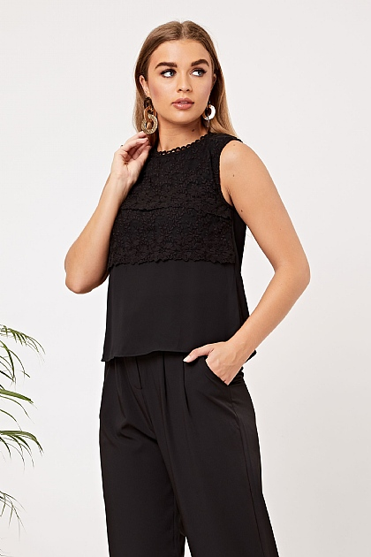 Black Lace Layered Sleeveless Blouse