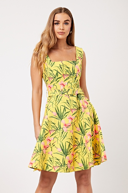 Yellow Floral Plant Square Neck Summer Dress
