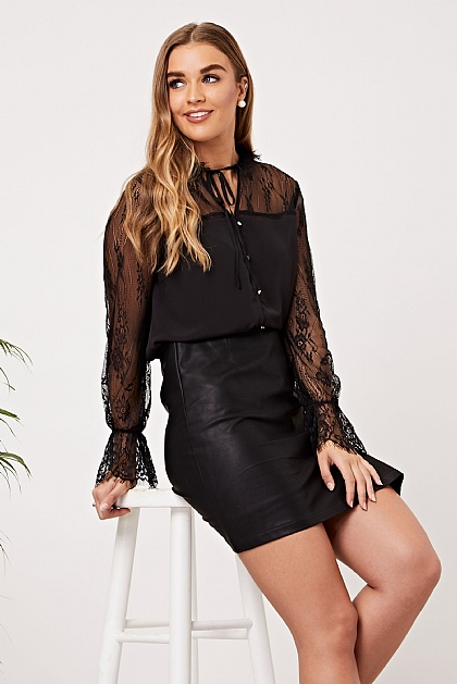 Black Lace Insert Long Sleeve Blouse