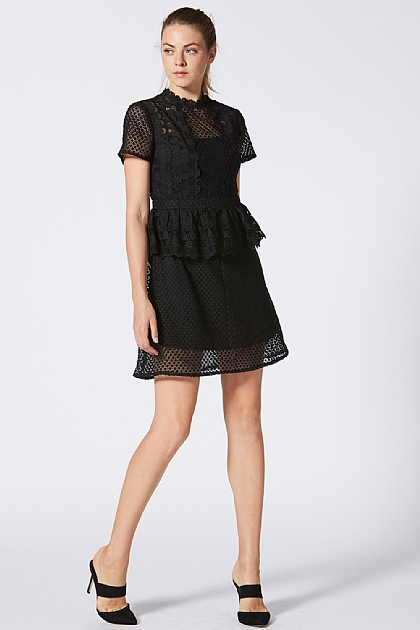 Lace Peplum High Neck Black Mini Dress