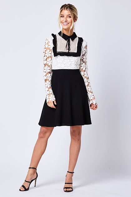 White Black Contrast Lace Mini Dress