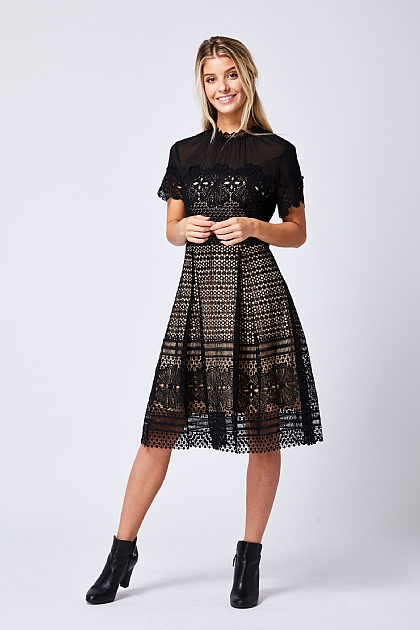 Black Lace Midi Glam Dress