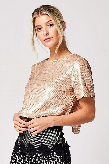 Short Sleeved Sequin Crop Top in Nude