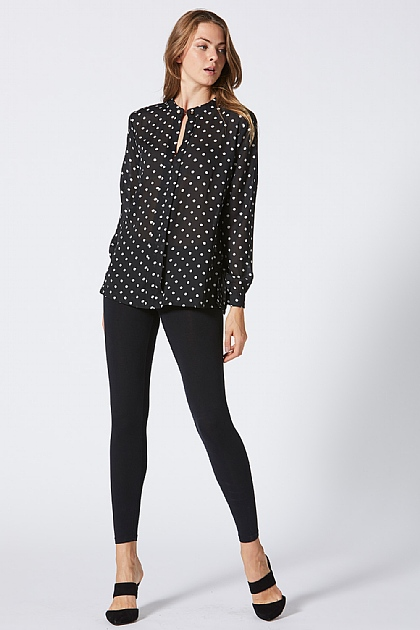 Black Polka Dot Chiffon Shirt