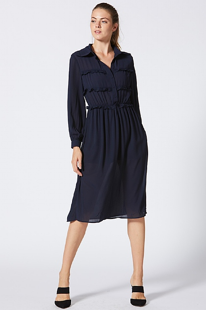 Navy Blue Shirt Style Midi Dress