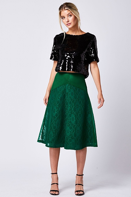 Green Lace Mesh Mix Midi Skirt