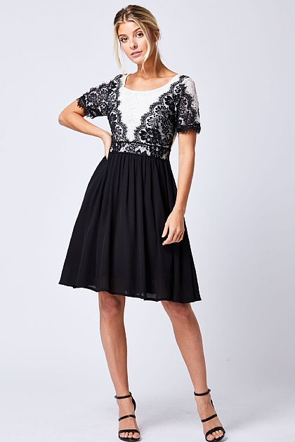 Black and White Lace Short Sleeved Dress