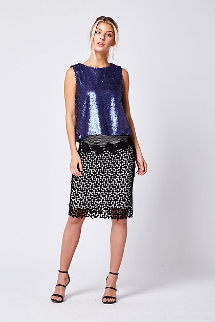 Royal Blue Sleeveless Sequin Vest Top