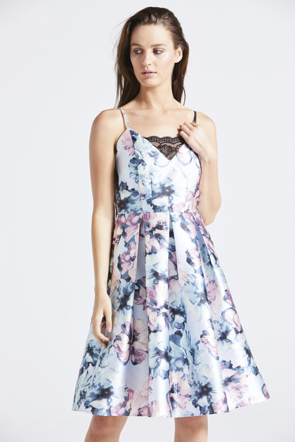 Blue Floral Strap Dress with Lace