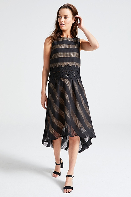 Black Striped Hi-low Lined Mesh Skirt