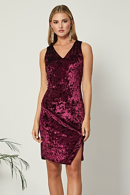 Burgundy Velvet V Neck Bodycon Dress