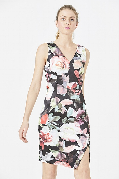 Black Floral Scuba Body Con Mini Dress