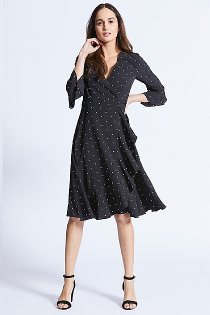 Black Polka Dot Midi Wrap Tie Dress