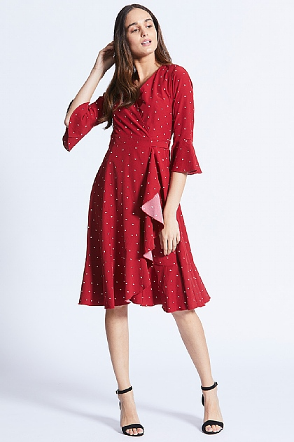 Burgundy Long Sleeved Polka Dot Wrap Dress