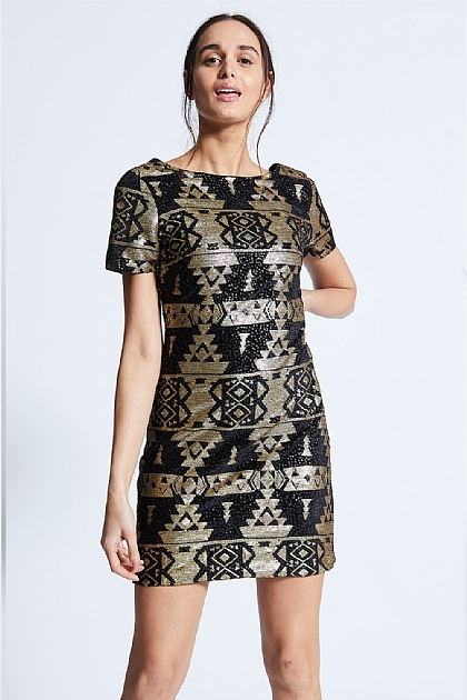 Black And Gold Sequin Aztek Mini Dress