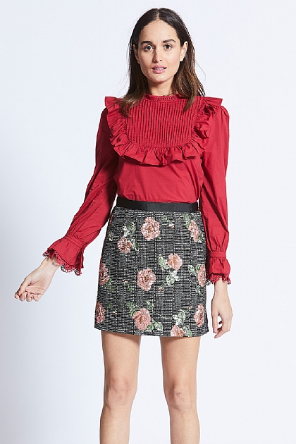 Checked Black Embroidered Floral Mini Skirt